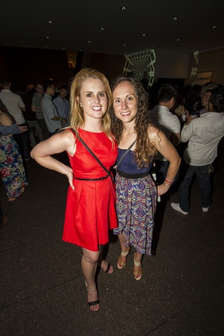 Mereidith Jeffrey, left, and Elaine Lamb at the MFAH Mixed Media Party June 2014