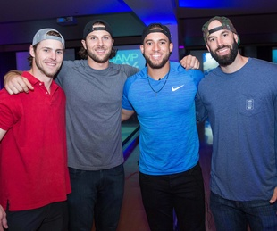 Houston, George Springer All Star Bowling Benefit for Camp Say, June 2017, Houston Astros Josh Reddick, Jake Marisnick, George Springer, Mike Fiers