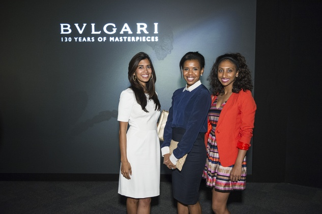70 Divya Brown, from left, Claire Cormier Thielke and Ashley Menzies at the Bulgari exhibition dinner May 2014