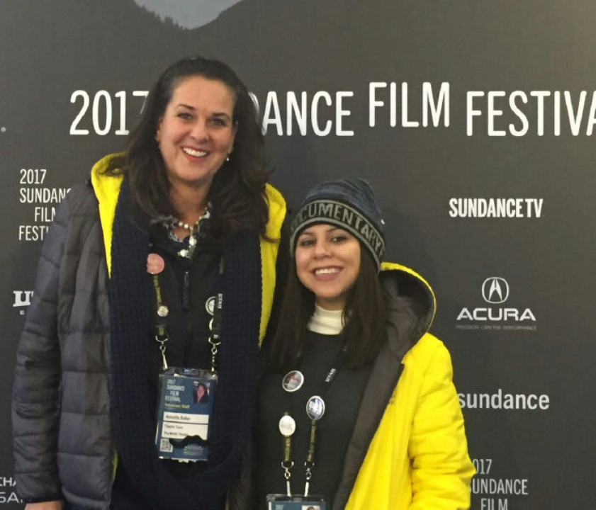 Houstonians Annette Baker and Lluvia Fernandez volunteer at the Sundance Film Festival serving as ushers in the MARC theater