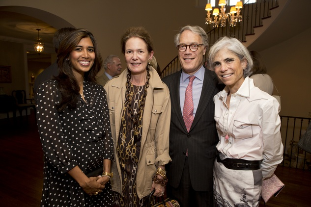 0450 Divya Brown, from left, Betty and Steve Newton and Judy Nyquist at the Tiger Ball kickoff party September 2015