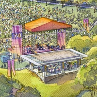 Eleanor Tinsley Park plans for pavilion event venue rendering August 2013