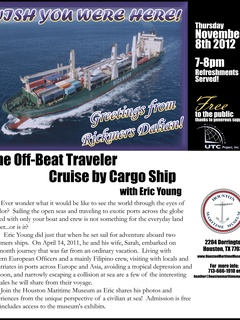 "Lecture: ""The Off-Beat Traveler: Cruise by Cargo Ship with Eric Young"""