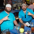 Jay Humphrey, left, and Kasey Studdard at Roger Clemens' Celebrity Slam Party July 2014
