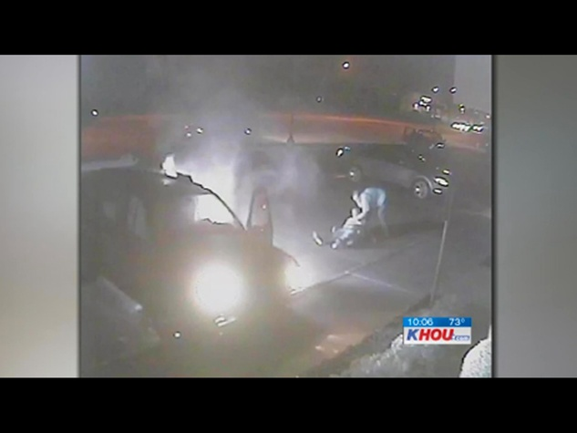 car on fire, KHOU, video still