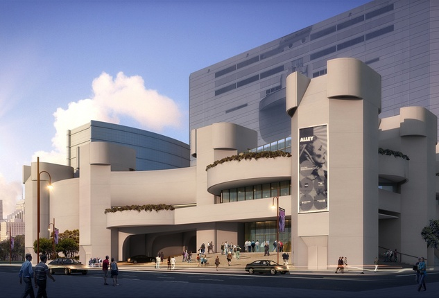Alley Theatre, Front Exterior in daylight rendering May 2013