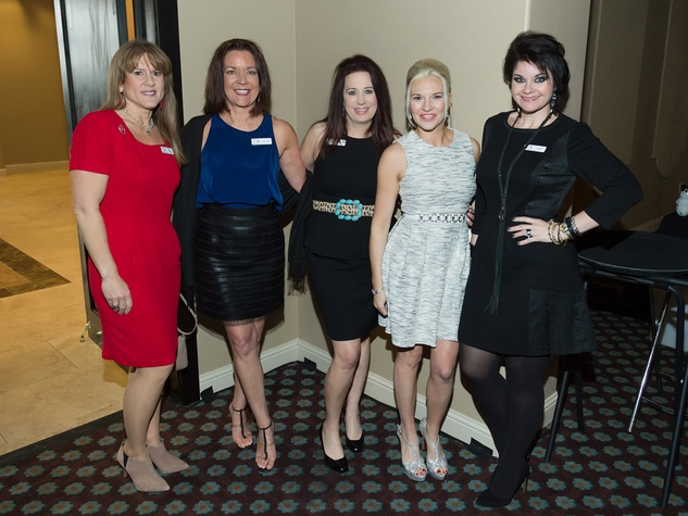 6 Leah Stasney, from left, Shannon Paige, Jennifer Summerour, Shelly Brock and Janeen Comer at the Rodeo Trailblazer Awards Luncheon February 2015