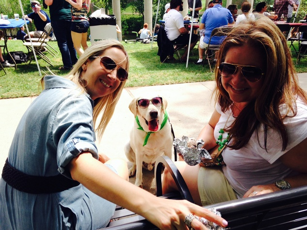 1 Jennifer Gress, left, and Lea Searcey with Floyd at the Buffalo Bayou Bash April 2014