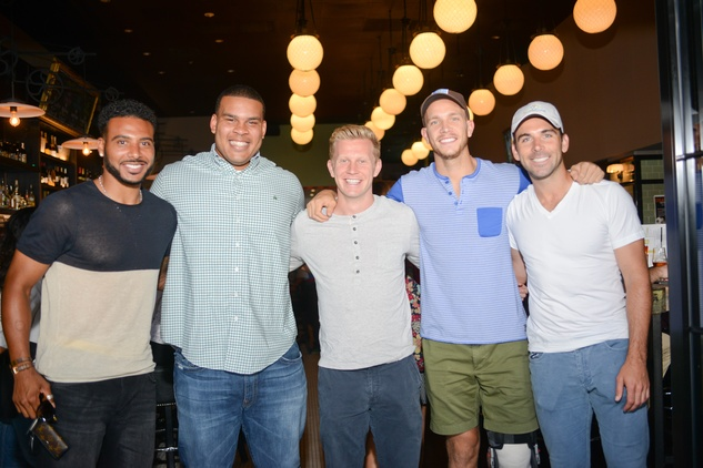 Brandon Brooks, from left, Andrew Driver, Giles Barnes, Michael Chabala and Mark Sherrod at the World Cup Watch Party with Dynamo players at Local Pour June 2014