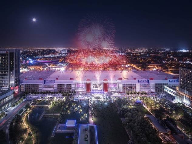 George R. Brown Convention Center rendering with fireworks November 2014