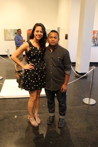 Emily Link and Jed Foronda at the Lawndale Big Show preview party July 2014