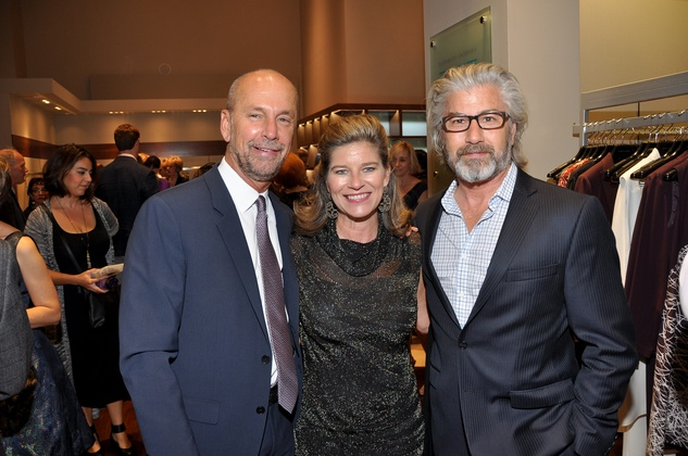 John Kidd, from left, Jana Giammalva and David Lemer at the Elizabeth Anthony expansion party October 2014