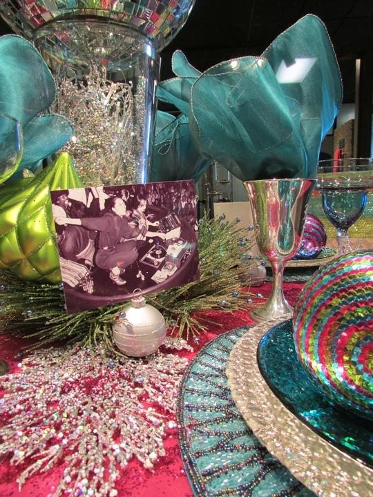 The Houston Design Center Deck the Tables December 2014 Showroom 273 Dauphin Sales Disco Christmas table detail