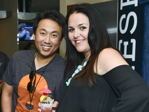 Johnny Chiang, Christi Brooks at Lucchese party at Houston rodeo March 2014