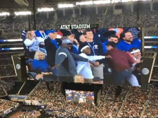 Father son dance routine at AT&T Stadium