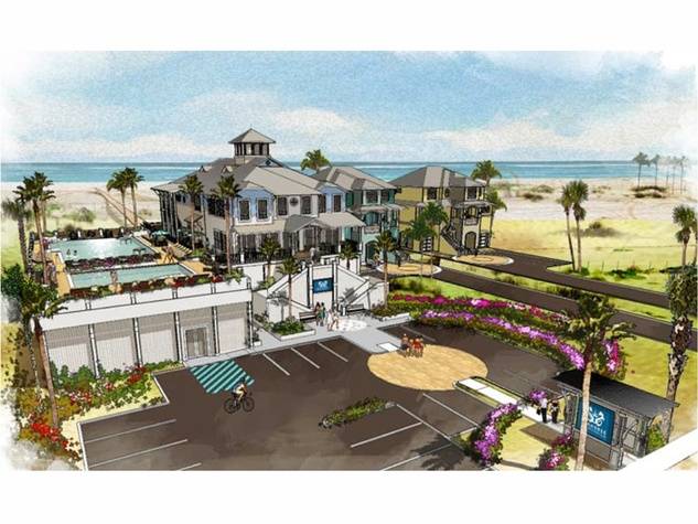 4 Seahorse Beach Club Galveston rendering club with swimming pool