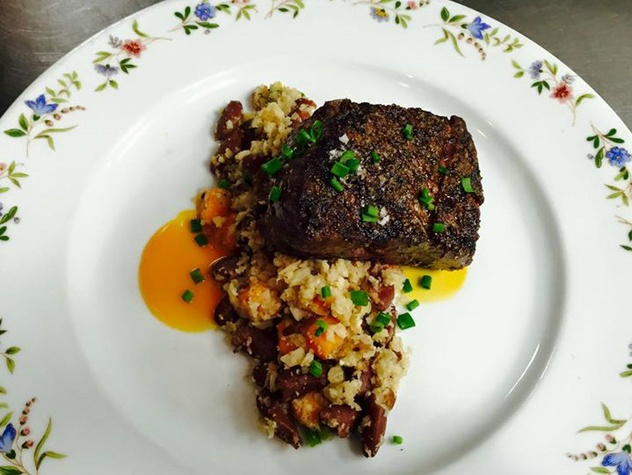 Sala & Betty_steak and cauliflower rice with red beans_Austin restaurant_2015