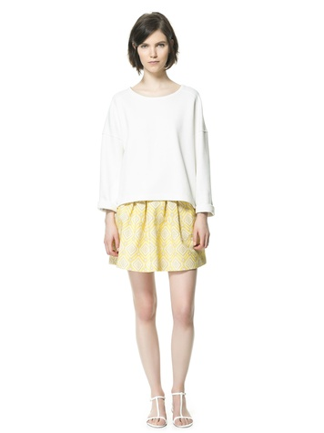zara PLEATED JACQUARD SKIRT