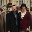 Darin and Amber Murphy pose with the Downton Abbey upstairs characters at the Manor of Speaking season finale taping