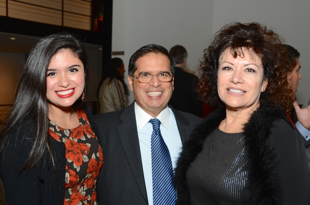 Elizabeth Gonzalez, from left, with Roberto Gonzalez and Irma Diaz-Gonzalez at the Houston Cinema Arts Festival opening party November 2014