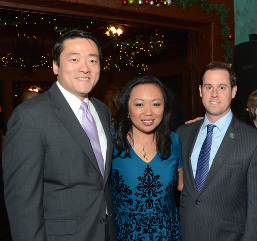 News, Mayor's Hispanic Advisory Board party, Dec. 2015, Gene Wu, Miya Shay, Chris Brown