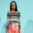 Fashion Week spring 2015 Trina Turk print skirt with stripe crop top
