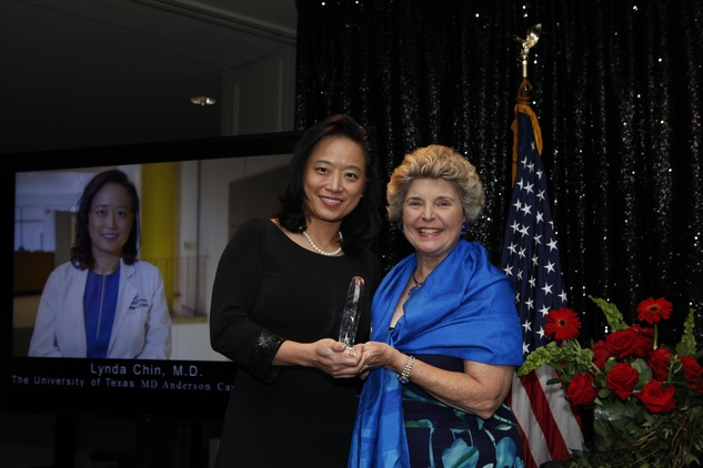 8 Dr. Lynda Chin, left, and Karen Tellepsen at the Health Museum Gala September 2014
