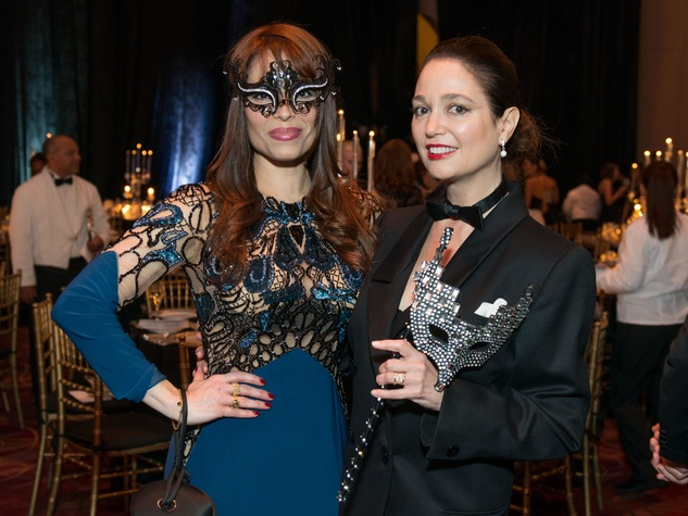 18 Karina Barbieri, left, and Maria Bassa Masks at the Houston Ballet Ball February 2015