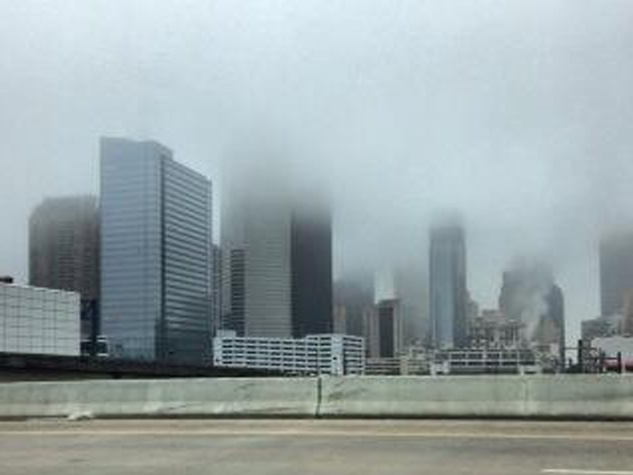 fog in Houston February 2014 downtown