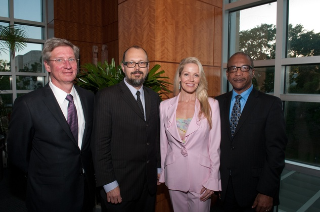 "Norman Ewart, Rex Koontz, Melissa Edwards, UH dean John Roberts at the UH School of Art ""Cultivating Creativity"" dinner"