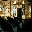 interior of Dobie Theater screening room with Egyptian mural