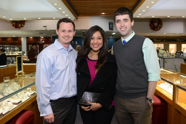 6 40 Chad Ostroff, from left, Roberta Higgins and Ryan Chauvin at the Zadok Jewelers Holiday Party December 2014