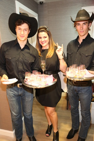Urban Cowboy Servers in Stetson with Elaine Turner at Elaine Turner New York Fashion Week launch party September 2014
