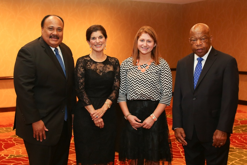 1 Martin Luther King III, from left, Luci Baines Johnson, Lexi Klein and John Lewis at the Holocaust Museum Moral Courage Award dinner June 2014