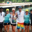 paddlers from Tyler's dam that Cancer at Hula Hut PJ Thompson, Chelsea Johnson, Kathleen Hersey, Ricky Berens, Elizabeth Post and Ingrid Kantola