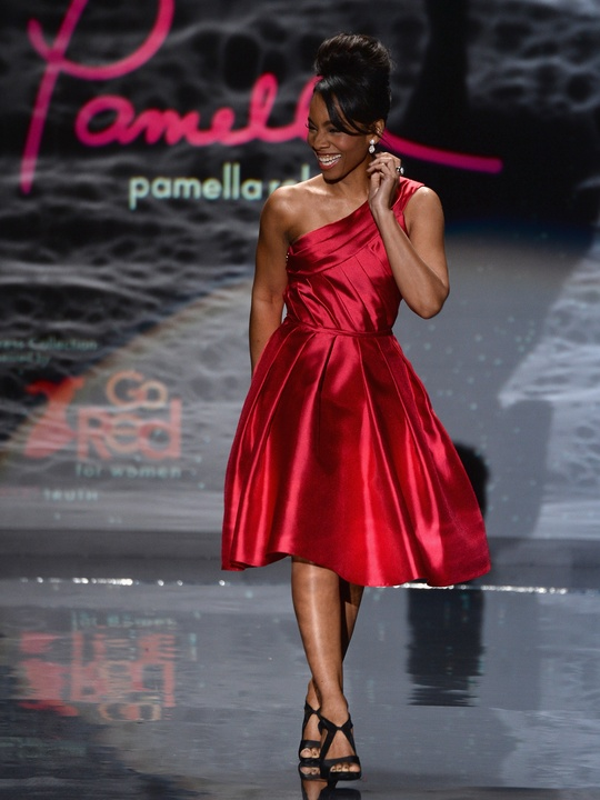 Anika Noni Rose walks the runway wearing Pamella Roland at Go Red For Women February 2014