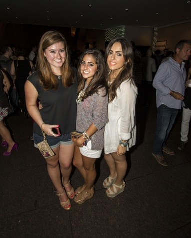 Goleol Sharia, from left, Olivia Winter and Alessandra Rey at the MFAH Mixed Media Party June 2014