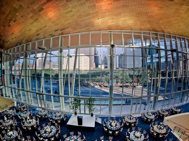 Hobby Center's Grand Lobby, overlooking Downtown Houston, was the Sing For Hope scene Bering Omega