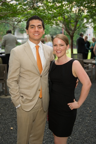 "Benjamin Hernandez and Anna Ray at ""The Beacon"" dinner September 2014"
