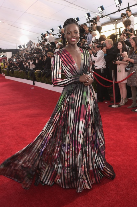 Lupita Nyong'o in Elie Saab gown at Screen Actors Guild Awards