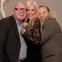 David Arpin, from left, Theresa Roemer and Alex Martinez at Theresa Roemer first charity closet party November 2014