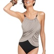 macys Magicsuit Swimsuit, Spaghetti-Strap Draped Colorblock One-Piece