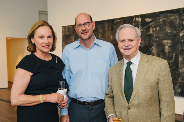 Minnette Boesel, from left, David Bucek and Jim Furr at the Charles James exhibit preview party at the Menil June 2014