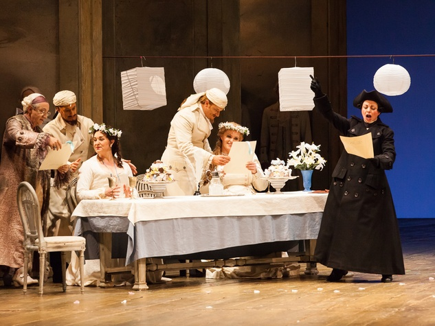 Houston Grand Opera Cosi fan tutte October 2014 Allessandro Corbelli as Don Alfronso, from left, Jacques Imbrailo as Gugielmo, Melody Moore and Dorabella, Norman Reinhardt as Ferrando, Rachel Willis-Sorensen as Fiordiligi and Nuccia Focile as Despina