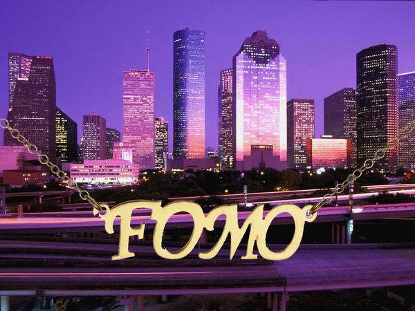 Houston, downtown, skyline, necklace, FOMO