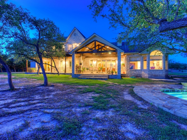 Red Adair ranch exterior front at night