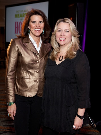Lisa Malosky, left, and Cheryl Strayed at Bo's Place luncheon February 2014