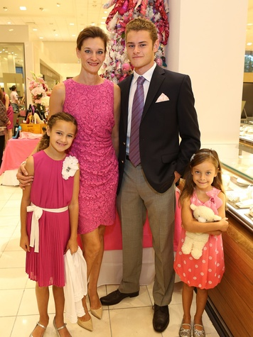 Tricia Georgiou with children Eleni, Alec and Emma at Neiman Marcus' Stiletto Strut