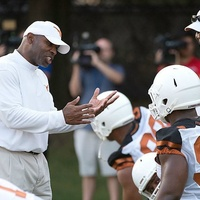 Charlie Strong at UT Football practice texas longhorns