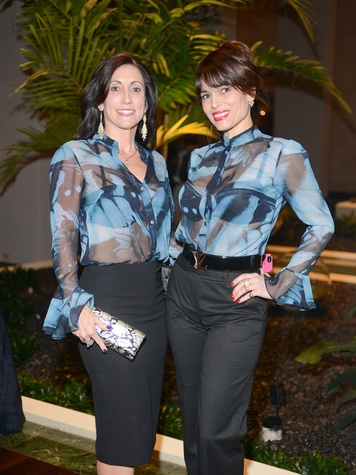 10 1714 Leslie Hassen, left, and Karina Barbieri at the Jonathan Blake fashion party April 2014